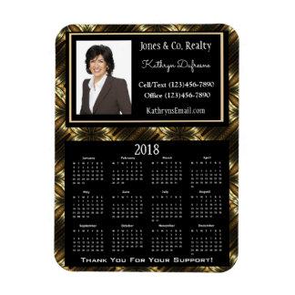 Ímã Elegância dourada w/Photo do calendário do negócio
