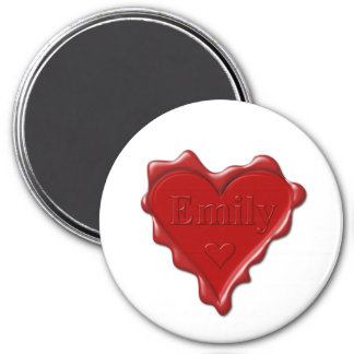 Imã Emily. Selo vermelho da cera do coração com Emily