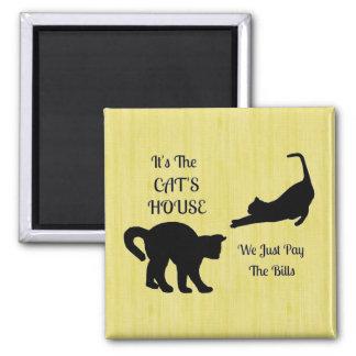 Ímã engraçado do quadrado da casa do gato ímã quadrado
