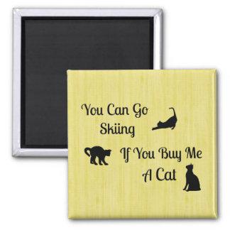 Ímã engraçado do quadrado do gato do esqui ímã quadrado