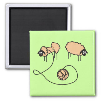 Ímã engraçado dos carneiros ímã quadrado