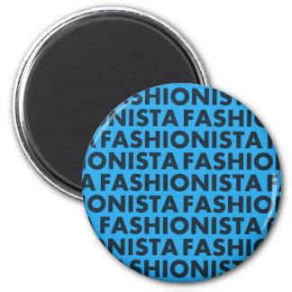 Imã Entalhe azul corajoso do texto do Fashionista
