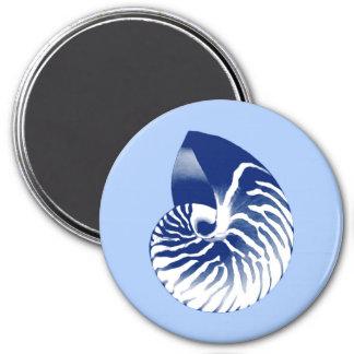 Imã Escudo do nautilus - marinho, branco & luz - azul
