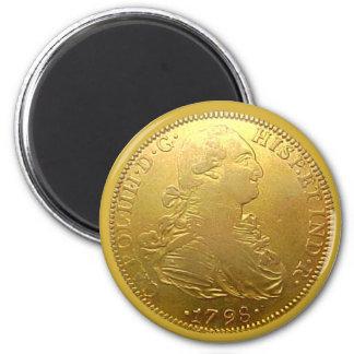 Ímã espanhol do Doubloon do ouro Ímã Redondo 5.08cm