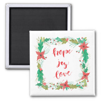 Imã Esperança, alegria, amor - ímã do Natal da