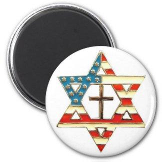 Imã Estrela de David americana com cruz
