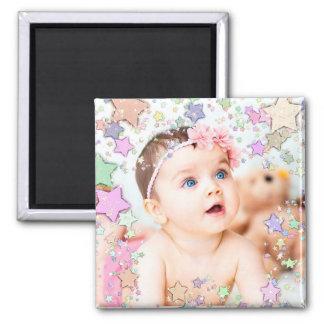 Ímã estrelado da foto do bebê ímã quadrado