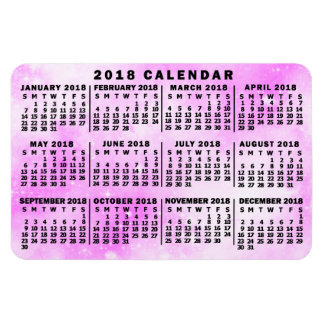 Ímã Estrelas mensais da aguarela do rosa do calendário