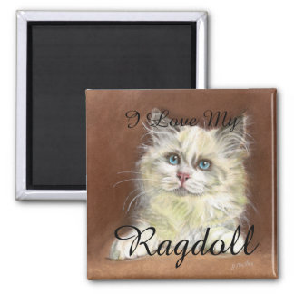 """Imã """"Eu amo arte do meu Ragdoll"""""""