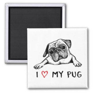 Imã Eu amo meus ímãs do Pug