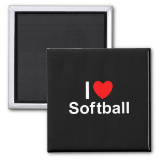 Imã Eu amo o softball do coração