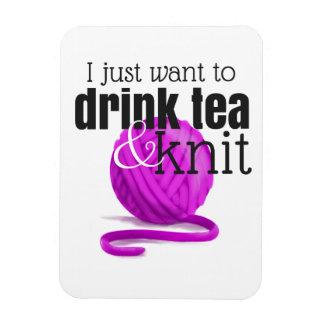 Ímã Eu apenas quero beber o chá & fazer malha o fio