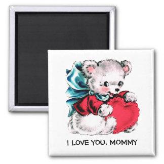 Imã Eu te amo mamães. Ímãs doces do presente do urso
