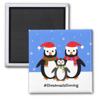 Imã Família do pinguim seu Natal do texto