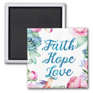 Imã Fé, esperança, amor, aguarela floral