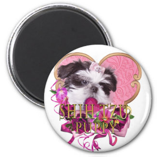 Imã Filhote de cachorro de Shih Tzu nos rosa & nos