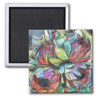 Imã Flor surreal azul, cor-de-rosa, e verde