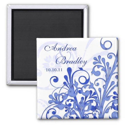 Ímã floral abstrato do casamento do azul & do ímã quadrado