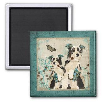 Ímã floral azul dos cães do vintage ímã quadrado
