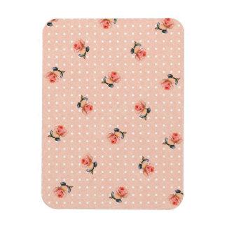 Ímã Floral cor-de-rosa e pontos do vintage