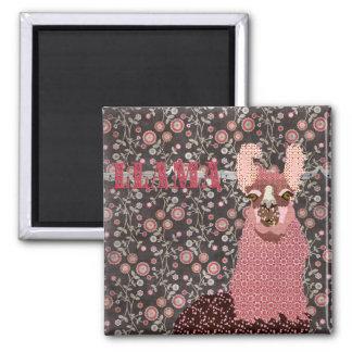 Ímã floral do vintage cor-de-rosa de Brown do lama Ímã Quadrado
