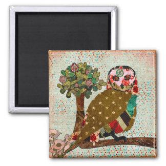Ímã floral do vintage da coruja cor-de-rosa ímã quadrado