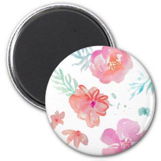 Imã Flores cor-de-rosa românticas da aguarela