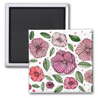 Imã Flores da aguarela e da tinta - rosa e verde