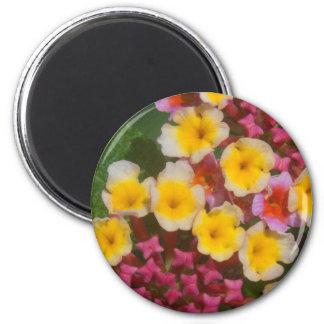 Imã Flores tropicais amarelas pequenas com botões