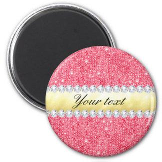 Imã Folha e diamantes cor-de-rosa de ouro dos Sequins