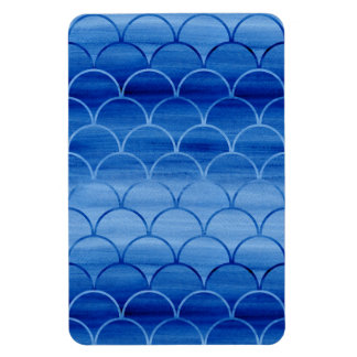 Ímã Formas geométricas do fã da aguarela do azul