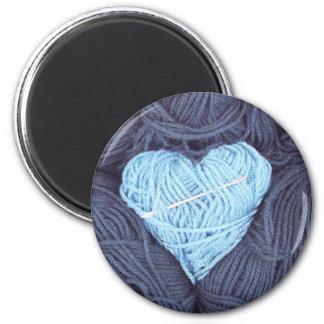 Imã Fotografia bonita do coração azul de lãs
