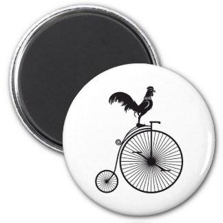 Imã Galo que senta-se na bicicleta do vintage
