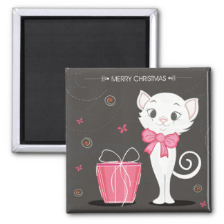 Imã Gatinho branco bonito do Feliz Natal no rosa