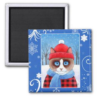 Imã Gato bonito de Ragdoll do sapato de neve, natureza