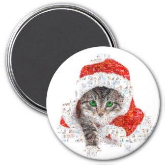 Imã gato de Papai Noel - colagem do gato - gatinho -