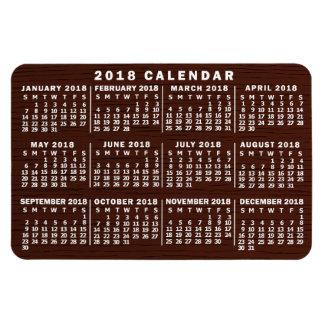 Ímã Grão de madeira de Brown do calendário mensal de