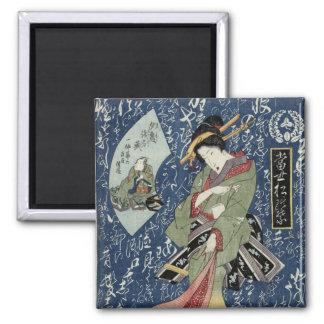 Imã Gueixa do impressão de Eisen Woodblock no quimono