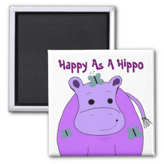Imã Hipopótamo com borboletas