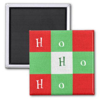 Imã Ho Ho Ho ímã bonito do quadrado de xadrez do Natal