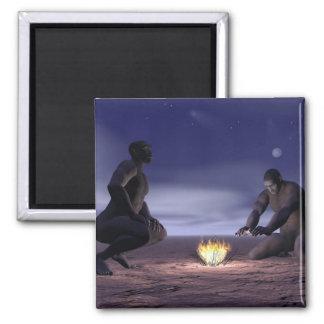 Imã Homo erectus e fogo - 3D rendem