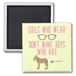Imã Humor engraçado do nerd dos vidros da menina