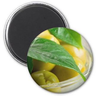 Imã Ideia macro das azeitonas com folhas verdes