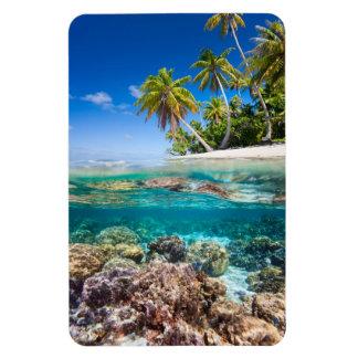 Ímã Ilha abaixo e à superfície da àgua tropicais