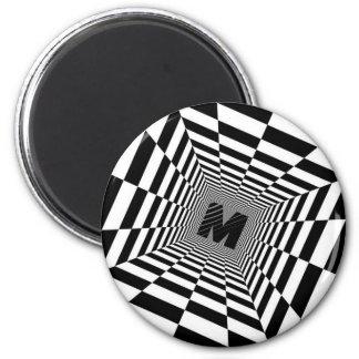 Imã Ilusão, monograma ou inicial visual preta & branca