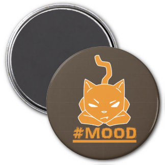 Imã Ilustração alaranjada do logotipo do gato do #MOOD