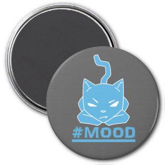 Imã Ilustração azul do logotipo do gato do #MOOD
