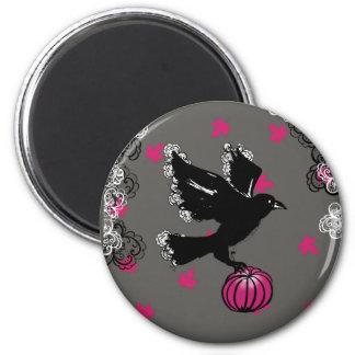 Imã ilustração do Dia das Bruxas de um corvo e de uma