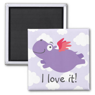 Imã Ilustração do hipopótamo do vôo