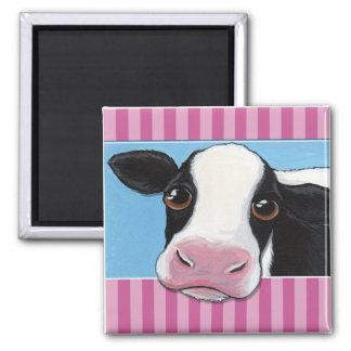 Imã Ilustração preta & branca lunática bonito da vaca